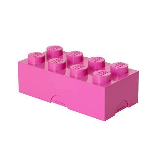 LEGO Brotdose mit 8 Noppen, Kleine Aufbewahrungsbox, Stiftebox, rosa (Rosa Lego-lunch-box)