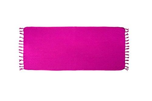 ManuMar Damen Sarong | Pareo Strandtuch | Leichtes Wickeltuch mit Fransen-Quasten 225x115cm, 155x115cm oder 155x55cm, verschiedene Farben Lila