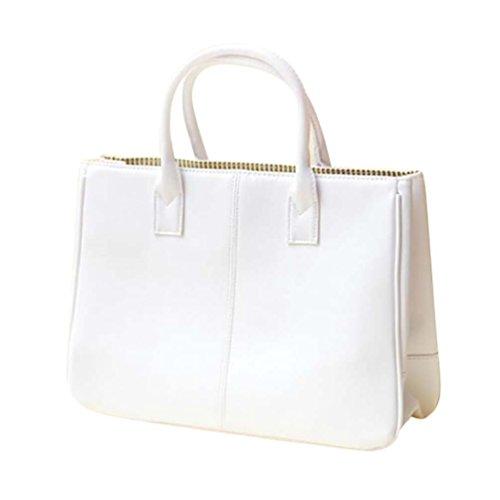 Sentao Donna Shopper Borse a Spalla Tracolla Borsa Grande Capacità PU Cuoio Borsetta Pure Color Bianco