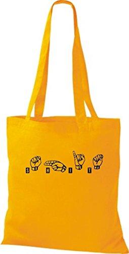 Shirtstown Stoffbeutel Zeichensprache SHIT gelb