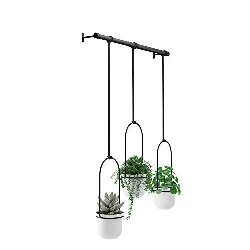 Umbra Triflora Blumenampeln und Vasen, Melamin, Metall, Weiß, 3er-Set