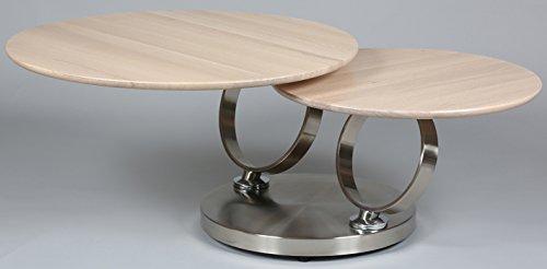 PEGANE Table Basse avec 2 Plateaux en Bois Blanchis