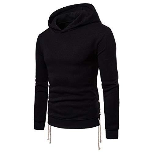 Manadlian Herren Hoodies Sweatshirt Pullover Herbst Winter Einfarbig Lange Ärmel Bandage Kapuzenpullover Zur Seite Fahren Outwear Oberteile