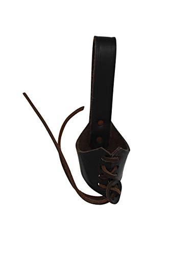 Erlebnis Mittelalter - Trinkhornhalter Gürtelhalter geschnürt aus Leder (Geschnürter Trinkhornhalter braun, - Keltische Krieger Kostüm