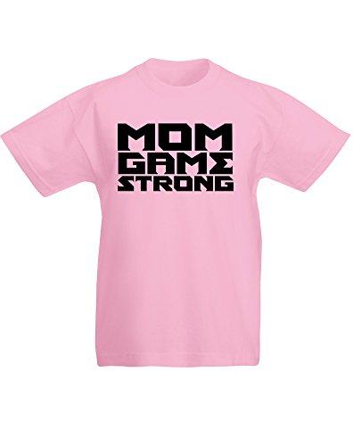 Mom Game Strong, Kind-druckten T-Shirt - Hellrosa/Schwarz 7-8 Jahre