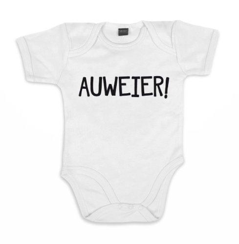 ::: AUWEIER ::: Baby Body, Weiß mit schwarzem Aufdruck, Größe 12-18 (Baby Kostüm Bunny Oster)