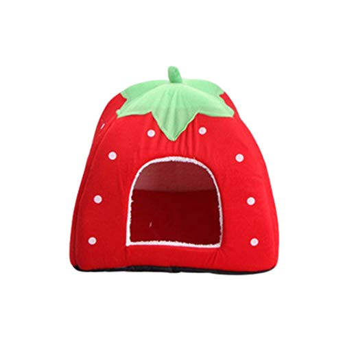 JEELINBORE Fragola Casa per Cane e Gatto di Animale Domestico Canile Cuccia Morbida (Rosso, XL: 48 * 48 * 48cm)