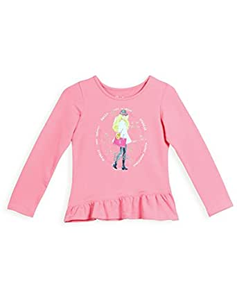 Barbie Girls' Long Sleeve Top (LTAFA150820011_Candy Pink_13/14)