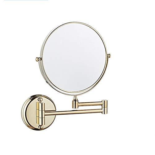 QSJZ DD Espejo de vanidad de baño de Titanio Dorado montado en la Pared sin Espejo Lupa Plegable Lupa...