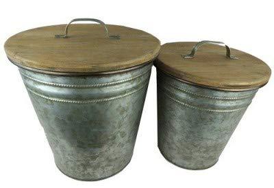 Antic Line Set de Deux Poubelle Zinc/Bois