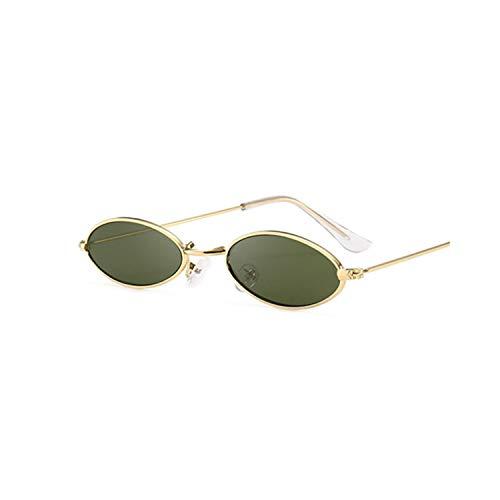 Klassische Sportsonnenbrille, Retro Black Round Sunglasses For Women Men Small Oval Alloy Frame Summer Style Unisex Sun Glasses Female Male Goggle Gold Deepgreen