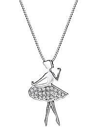 """Neoglory Jewellery """"Fille qui danse ballet"""" Or Platine Faux Collier Pendentif Bijoux Fantaisie Femmes En Coffret"""