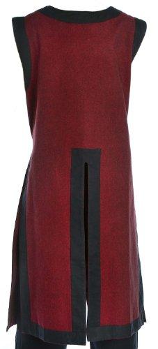 HEMAD Kinder- Mittelalter Waffenrock - Baumwolle Leinenoptik - Mittelalterliche Kleidung (one size, dunkelrot-schwarzer Rand)