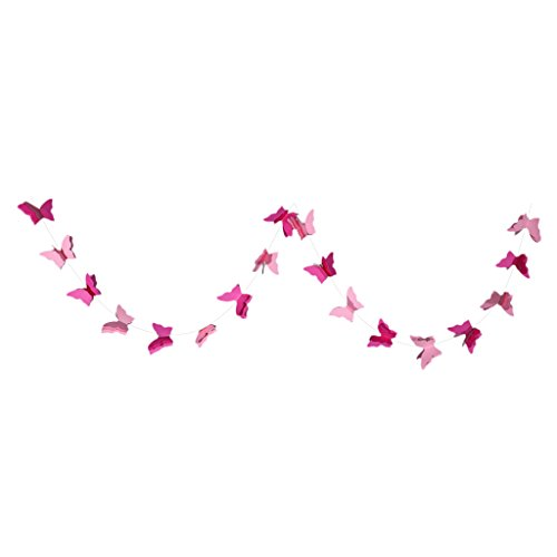 Sharplace Schmetterling Banner Papier Flaggen Wimpelkette für Kinder Geburtstag Dekor - Rosa, 2,8 m