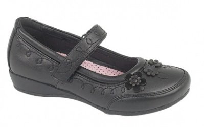 CHILDRENS GIRLS BLACK SCHOOL SHOES MARY JANES LOW HEEL VELCRO FAUX LEATHER...