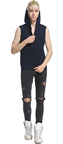 Whatlees Unisex Hip Hop Urban Bisic Design Ärmelloser Kapuzenpullover B493-Navy