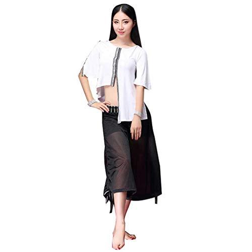 Kostüm Bauchtanz Fusion - RJ Kleid Bauchtanz Kostüm Übungskleidung Modern Fusion , Große Sexy Tanzoutfit Bauch Wettkampfhose (Color : White Black, Size : L)