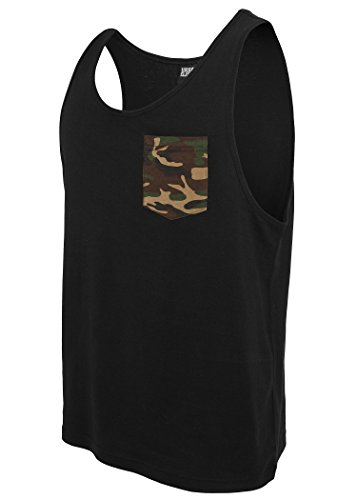 Urban Classics Tank Top Contrast Pocket Jersey, black/wood camo, M (Camo-tank)