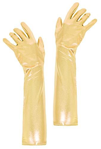 Das Kostümland Glitzernde Handschuhe Shine 40 cm - Gold - Zubehör Gloves Prinzessin Show Tänzerin Flapper Girl Diva Abendkleid Kostüm Karneval Junggesellenabschied Mottoparty ()