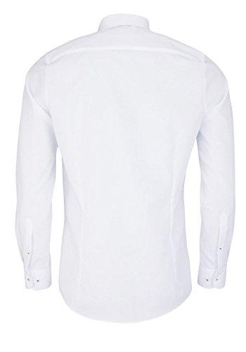 Marvelis Body Fit Hemd Langarm New Kent Kragen mit Blauem Besatz Weiß Weiß