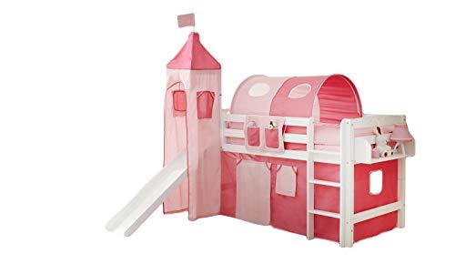 Rutschbett Joy inkl Turm + Vorhang 100% Baumwolle Buche massiv natur lackiert Sicherheitsnorm EN 747-1 + 747-2 Spielbett Kinderbett Hochbett