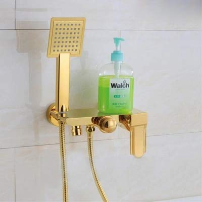 Wall Mounted Chrome Brass Gold Plate Bathroom Shower Faucet Set Bath Faucet Mixer Tap With W/ABS Hand Shower Head Shower,A -