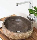 wohnfreuden Naturstein - Waschbecken 40 cm rund oval | Steinwaschbecken Doppelwaschbecken aus Stein Aufsatzwaschbecken Granit für Bad und Gäste WC