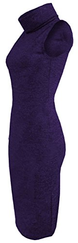 Chocolate Pickle ® Mesdames et col bénitier Knit Wear manches Bodycon Midi Robe purple