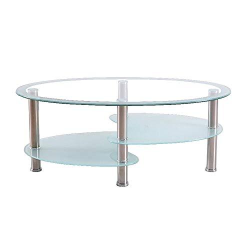 FEI – Computer-Schreibtisch Runder ovaler Couchtisch aus Glas Round 3 Tier Dinner Office Side Cocktail Tisch Möbel mit Edelstahl-Beinen für Wohnzimmer für alle Workstations