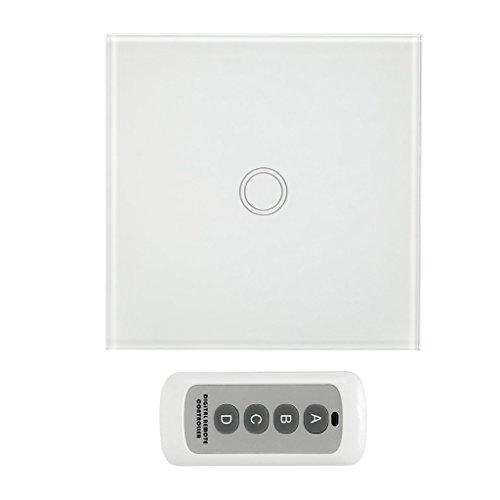Dolity Fernbedienungswand Berührungsloser Schalter EU-Lichtplatte An / Aus Berührungssensor - Weiß, 1 Gang (Test-licht-schalter)