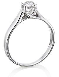 14K Gold / White Round Cut Diamond Simulated Swarovski Pure Brilliance Zirconia Engagement Ring (0.41 cttw)