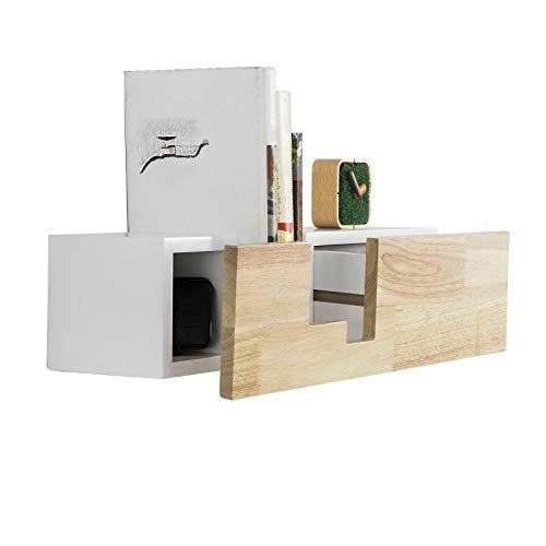 SoBuy FRG277-WN Design Wandregal mit Einer Schublade Bücherregal Wandschublade Hängeregal, weiß-Natur BHT ca.: 55x15x17cm (Bücherregal Schublade)