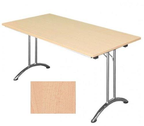 KLAPPTISCH Besprechungstisch Kantinentisch Verkaufstisch Schreibtisch 120x80 Buche Dekor/Stahl-Gestell 350591
