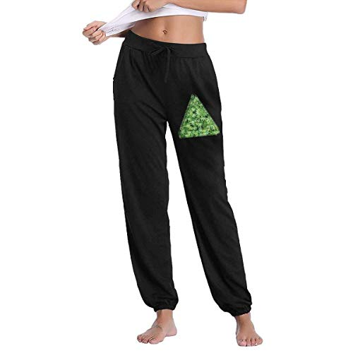 QIAOJIE Yogahosen für Damen Triangle Smoke Weed Vintage Women's Jogger Pants with Pockets Drawstring Sweatpants for Gym Running Jogging -