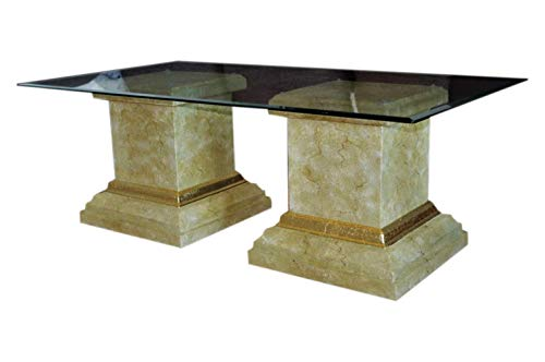 Rechteckiger Glastisch Wohnzimmertisch Marmor Tisch Couchtisch Säulentisch -