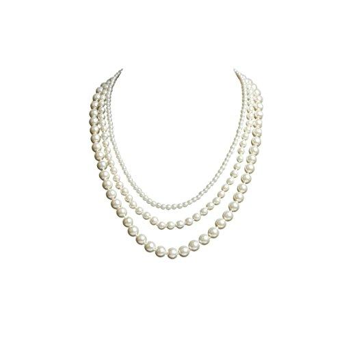 BigLion Modische Imitation Lange Faux Perle Halskette Perlen Collier Kette 20er Jahre Gatsby Accessoires Perlenkette Damen für Abend Charleston ()