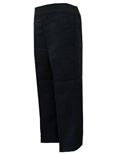 Boys School Trousers Pull Up Elasticated Waist Black Grey Uniform Trousers