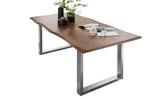 SalesFever Esszimmer-Tisch 180x90 cm | Akazie | echte Baumkante | nussbaum-farbig | silbernes U-Gestell aus Metall | Massiv-Holz
