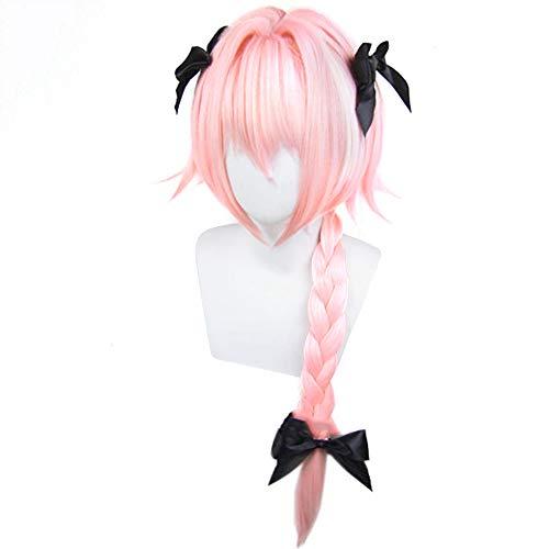 KroY PecoeD Fate/Apocrypha Cosplay Perücke, Anime Astolfo Haar Perücken Party Dekoration oder Cosplay Kostüm Perücke Bestes Geschenk für Kinder Erwachsene und Anime Fans (Anime Kostüm Für Erwachsene)