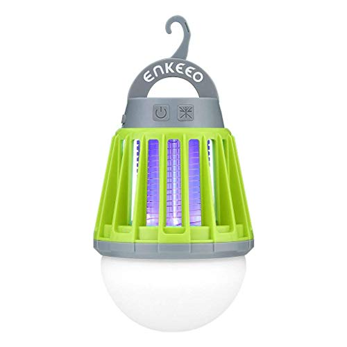 ENKEEO - Linterna Camping Antimosquitos Lámpara IPX6 Luz UV 360-400nm Batería 2000mAH Recargable Versátil Pórtatil Desmontable para Camping Viaje, Verde