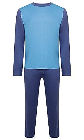 Vêtements De Nuit Pour Hommes PJ Pyjama Porter 100% Coton Nuit Pyjama Deux Pièces De - Bleu Marin / Bleu Clair -