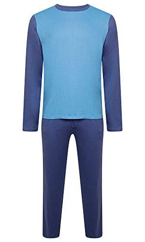 Herren Nachtwäsche PJ Pyjama Satz Zweiteiliger schlafanzug Nacht Tragen 100% Baumwolle - Marine Blau / Hellblau - XX-Large (Blau-bett-satz)