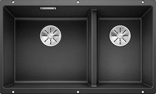 Blanco 523151 SUBLINE 430/270-U, Unterbau-Spülbecken/SILGRANIT PuraDur anthrazit, Hauptbecken links, mit InFino-Ablaufsystem-ohne Ablauffernbedienung, 430/270 mm Beckenbreite