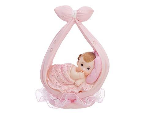 """Baby- Figur""""liegend im Schal"""" Torten Figur Kuchen Topper, 11 cm (Baby Figur Mädchen)"""