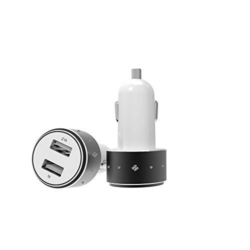 Caricabatterie USB da Auto (3.1A - 2 Porte) con Tecnologia AiPower per iPhone 6s, 6s Plus, SE; iPad, iPod, Samsung, HTC, Motorola, Altoparlante Bluetooth, Batteria Portatile