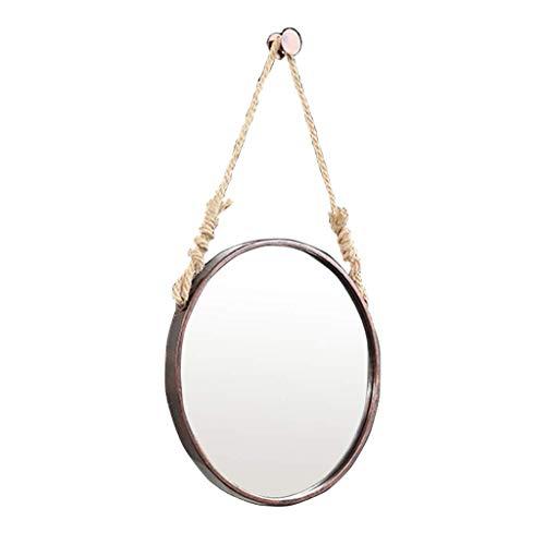 Hollywood Kostüm Vintage - Mirror Runder hängender Spiegel in Braun, Schminkspiegel for Badezimmer zur Wandmontage, Verschönern der Dekoration for das Wohnzimmerbadezimmer, Vintage-Schnur LITL (Color : 70cm)