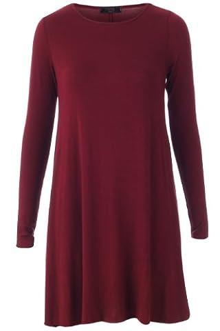 Fashion 4 Less New Womens Long Sleeve Plain Swing Smock Dress (SM-UK(8-10), Wine)