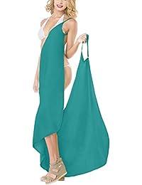 7620f33023 LA LEELA Women s Bikini Cover Up Spaghetti Strap Beach Dress Wrap Swimwear  Swimsuit