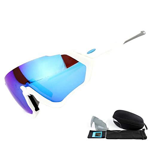 MaxAst Sportbrille Herren Schneebrille Unisex Schutzbrille Winddicht Weiß Rahmen Blau