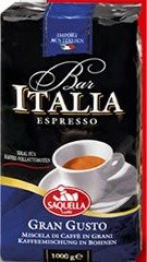 "Saquella ""Bar Italia Gran Gusto"" Slow Roasted Gourmet Italian Espresso Coffee Beans 1kg bag"